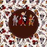 Cartão do cavaleiro dos desenhos animados Foto de Stock Royalty Free