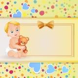 Cartão do chuveiro de bebê Imagens de Stock Royalty Free