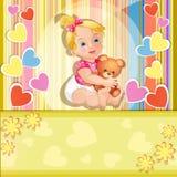 Cartão do chuveiro de bebê Fotos de Stock