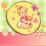 Cartão do chuveiro de bebê Imagens de Stock