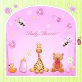 Cartão do chuveiro de bebê Foto de Stock