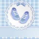 Cartão do chuveiro de bebê azul Fotos de Stock Royalty Free