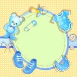 Cartão do chuveiro de bebê azul Fotografia de Stock