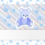Cartão do chuveiro de bebê azul Fotografia de Stock Royalty Free