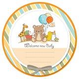 Cartão do chuveiro de bebê com brinquedos Fotografia de Stock Royalty Free