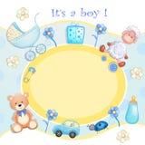 Cartão do chuveiro de bebê com brinquedos Fotos de Stock Royalty Free