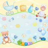 Cartão do chuveiro de bebê com brinquedos Foto de Stock Royalty Free