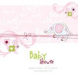 Cartão do chuveiro de bebê com elefante ilustração do vetor