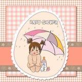 Cartão do chuveiro de bebê com menina Fotografia de Stock