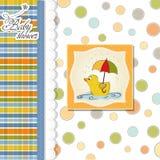 Cartão do chuveiro de bebê com pato Fotos de Stock