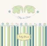 Cartão do chuveiro dos gêmeos do bebê Foto de Stock