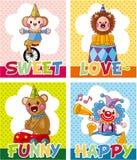 Cartão do circo dos desenhos animados Foto de Stock