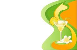Cartão do cocktail com ananás e plumeria ilustração royalty free