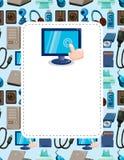 Cartão do computador dos desenhos animados Imagens de Stock