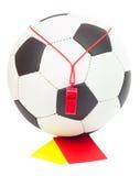 Cartão do conceito, da esfera, do assobio, o vermelho e o amarelo do futebol Imagens de Stock Royalty Free