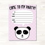 Cartão do convite do aniversário do urso de panda ilustração do vetor