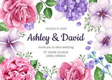 Cartão do convite do casamento com as flores no estilo da aquarela no fundo branco Molde para o cartão Foto de Stock Royalty Free