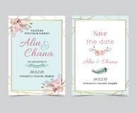 Cartão do convite do casamento do ouro da geometria com flor, folha, fita, wr Imagens de Stock