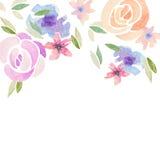 Cartão do convite com as flores da aquarela para o seu Fotos de Stock Royalty Free