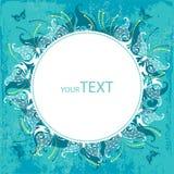 Cartão do convite com borboleta branca e pontos em um fundo de turquesa Imagens de Stock Royalty Free