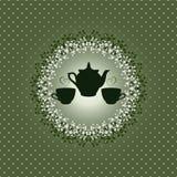 Cartão do convite com bule e copos Fotografia de Stock Royalty Free