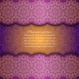 Cartão do convite com mandala Cartão violeta do laço Imagens de Stock Royalty Free
