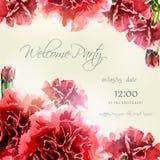 Cartão do convite com quadro do cravo da aquarela Imagens de Stock Royalty Free