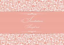 Cartão do convite com rosas cor-de-rosa Imagens de Stock