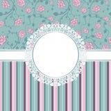Cartão do convite com rosas cor-de-rosa Imagem de Stock Royalty Free