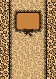 Cartão do convite com textura da pele do leopardo Foto de Stock Royalty Free