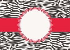 Cartão do convite com textura da zebra Fotografia de Stock