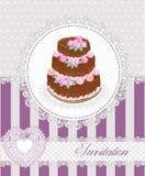 Cartão do convite com um bolo e um laço Ilustração do vetor Imagem de Stock