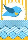 Cartão do convite com vôo do pássaro sobre nuvens ilustração do vetor