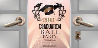 Cartão do convite da bola da graduação com portas abertas ilustração stock