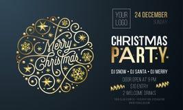 Cartão do convite da festa de Natal ou cartaz da decoração dourada do ano novo para o molde do projeto do evento do feriado Lett  ilustração do vetor