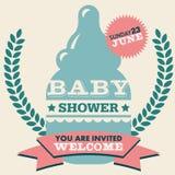 Cartão do convite da festa do bebê Fotografia de Stock