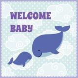 Cartão do convite da festa do bebê com as baleias bonitos dos desenhos animados Imagens de Stock