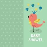 Cartão do convite da festa do bebê com um pássaro bonito Imagens de Stock Royalty Free