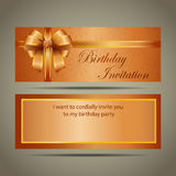 Cartão do convite do aniversário do ouro Foto de Stock Royalty Free