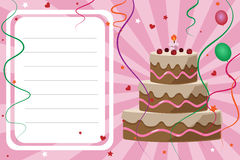 Cartão do convite do aniversário - menina Fotos de Stock Royalty Free