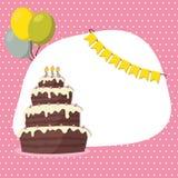 Cartão do convite do aniversário para a menina Imagens de Stock Royalty Free