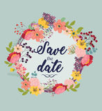 Cartão do convite do casamento com flores Imagem de Stock