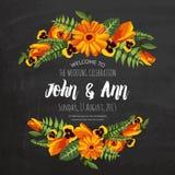 Cartão do convite do casamento com flores pintadas Fotos de Stock Royalty Free