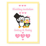 Cartão do convite do casamento com pinguim Imagens de Stock
