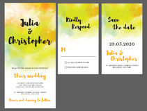 Cartão do convite do casamento da aquarela Fotos de Stock