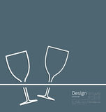 Cartão do convite do casamento do copo de vinho da ilustração dois Fotografia de Stock