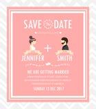 Cartão do convite do casamento do moderno, vetor Fotografia de Stock Royalty Free