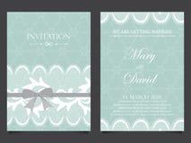 Cartão do convite do casamento Projeto do vintage Foto de Stock Royalty Free
