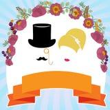 Cartão do convite do casamento Silhueta dos noivos Imagem de Stock