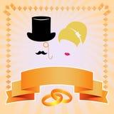 Cartão do convite do casamento Silhueta dos noivos Imagens de Stock Royalty Free
